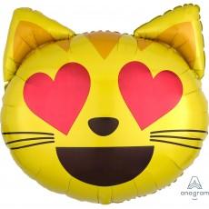Emoji SuperShape XL Emoticon Cat Love Heart Eyes Shaped Balloon