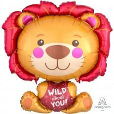 Multi Colour SuperShape XL Lion Wild About You! Shaped Balloon 66cm x 71cm