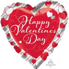 Valentine's Day Standard Hearts & Silver Stripes Shaped Balloon