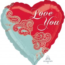 Heart Standard HX Paisley Love You Shaped Balloon 45cm