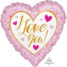 Love Gold & Pink Hearts Foil Balloon
