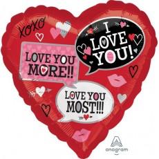 Heart Standard HX Love You Most Shaped Balloon 45cm