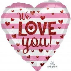 Heart Standard HX Glitter Hearts We Love You Shaped Balloon 45cm