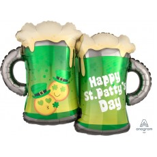 St Patrick's day SuperShape XL Emoticon Beer Mugs Shaped Balloon