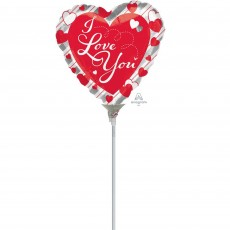 Love Red Hearts & Silver Stripes Shaped Balloon