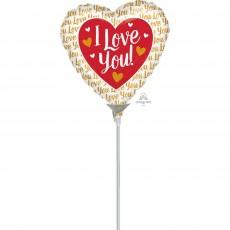 Love Gold Hearts Foil Balloon