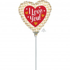 Love with Gold Hearts Shaped Balloon