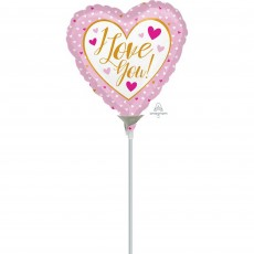 Heart Gold & Pink I Love You Shaped Balloon 10cm