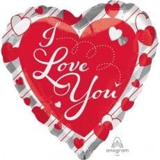 Heart Jumbo Shape HX Red Hearts & Silver Stripes I Love You Shaped Balloon 71cm