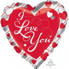 Love Jumbo Shape HX Red Hearts & Silver Stripes Shaped Balloon