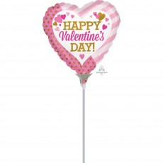 Valentine's Day Pink & Gold Hearts Shaped Balloon