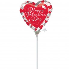 Valentine's Day Hearts & Silver Stripes Foil Balloon