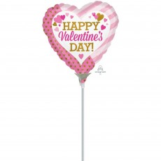 Valentine's Day Pink & Gold  Shaped Balloon