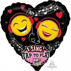 Emoji Sing-A-Tune XL Emoticon Love Singing Balloon