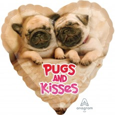 Love Standard HX Avanti Pugs & Kisses Shaped Balloon