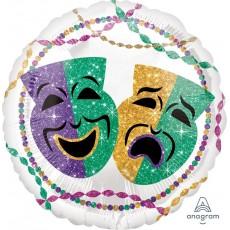 Round Mardi Gras Standard HX Party Foil Balloon 45cm