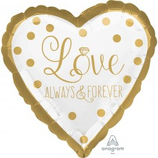 Heart Wedding Standard HX Sparkling Gold Love Always & Forever Shaped Balloon 45cm