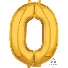 Number 0 Gold Mid-Size Shaped Balloon