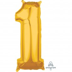 Number 1 Party Decorations - Shaped Balloon Mid-Size Gold 66cm
