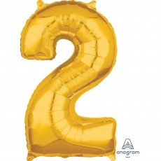 Number 2 Gold Mid-Size Shaped Balloon