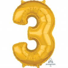 Number 3 Gold Mid-Size Shaped Balloon