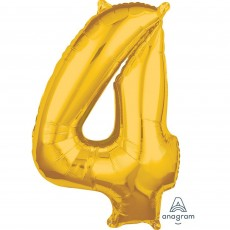 Number 4 Gold Mid-Size Shaped Balloon