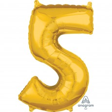 Number 5 Gold Mid-Size Shaped Balloon