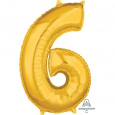 Number 6 Gold Mid-Size Shaped Balloon