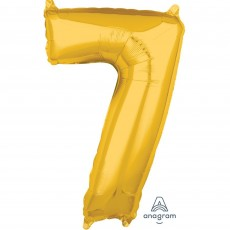 Number 7 Gold Mid-Size Shaped Balloon
