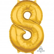 Number 8 Gold Mid-Size Shaped Balloon