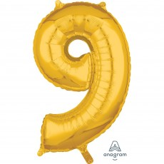 Number 9 Gold Mid-Size Shaped Balloon