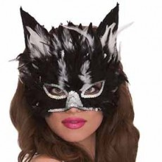 Black Cat Feather Mask Head Accessorie