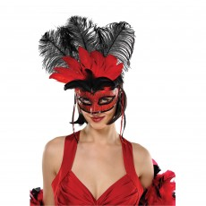Fairytale Red & Black Temptation Feather Mask Costume Accessorie