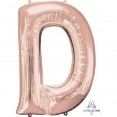 Rose Gold Letter D SuperShape Shaped Balloon 86cm