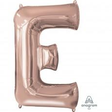 Rose Gold Letter E SuperShape Shaped Balloon 86cm