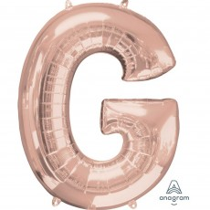 Rose Gold Letter G SuperShape Shaped Balloon 86cm