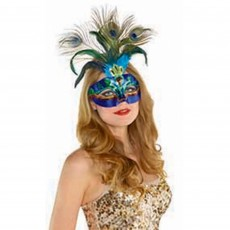 Blue Peacock Feather Mask Head Accessorie