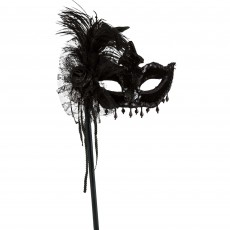 Mardi Gras Party Supplies - Black Magic Feather Stick Mask