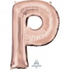 Rose Gold Letter P SuperShape Shaped Balloon 86cm