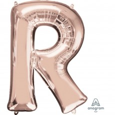 Rose Gold Letter R SuperShape Shaped Balloon 86cm