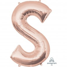 Rose Gold Letter S SuperShape Shaped Balloon 86cm
