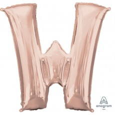Rose Gold Letter W SuperShape Shaped Balloon 86cm