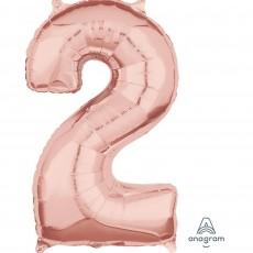Number 2 Rose Gold  Megaloon Foil Balloon