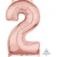 Number 2 Rose Gold Mid-Size Shaped Balloon