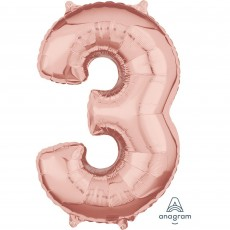 Number 3 Party Decorations - Shaped Balloon Mid-Size Rose Gold 66cm