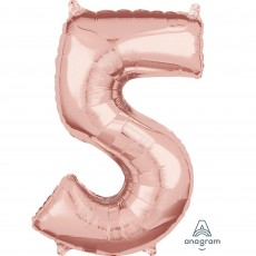 Number 5 Party Decorations - Shaped Balloon Mid-Size Rose Gold 66cm