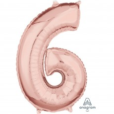 Number 6 Party Decorations - Shaped Balloon Mid-Size Rose Gold 66cm