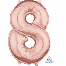Number 8 Party Decorations - Shaped Balloon Mid-Size Rose Gold 66cm