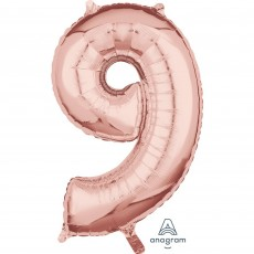 Number 9 Party Decorations - Shaped Balloon Mid-Size Rose Gold 66cm