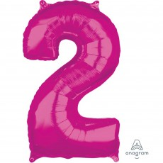 Number 2 Party Decorations - Shaped Balloon Mid-Size Pink  66cm